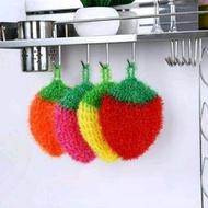 韓國熱銷加厚吸水抹布草莓洗碗巾 創意不沾油 太陽花(圓形)菜瓜布 不沾油 顏色隨機 菜瓜布清潔布廚房洗碗毛巾擦桌布洗碗布