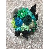 (meng愛手作)綠色捧花 緞帶捧花 珠寶捧花