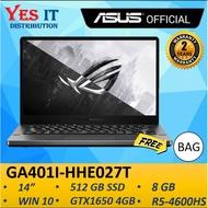 "ASUS ROG ZEPHYRUS GA401I-HHE027T LAPTOP GREY ( R5-4600H, 8GB, 512GB SSD, GTX1650Ti 4GB, 14"" 120Hz, W10, 2YW) FREE BAG"