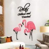 DIY Flamingo Wall Sticker Home Decorative Mirror Acrylic Living Room Art WallPaper Stickers For Kids Bedroom