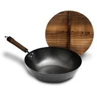 手工鍛造 不沾老鐵鍋 32cm+杉木鍋蓋 K0019