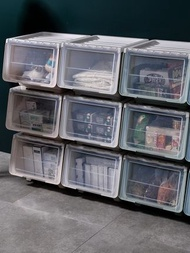 側開收納箱 兒童玩具收納箱塑膠側開衣服前開式儲物箱家用收納筐收納盒整理箱『SS4219』