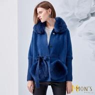 【MON'S】口袋皮草狐狸毛外套