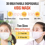 *Total 50pcs* Kid & Student Mask by AUB, 3D Breathable Disposable Anti-Droplet Anti-Dust Anti-Pollen Child Mask