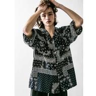 【二手】YU SELECT-優選 monkey time M號 BANDANA變形蟲黑藍拼色短袖寬版襯衫