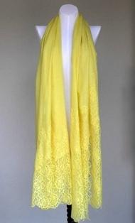 絲顏精品~Vintage Shades 法式古典蕾絲 圍巾 披肩 亮黃