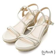 DIANA 8cm 質感牛皮幾何線條繞帶彈力S勾草編楔型涼鞋-簡約樂活-奶油白