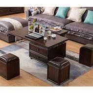升降茶几美式實木可升降茶几餐桌兩用桌簡約移動多功能茶几飯桌一體式家用 免運DF