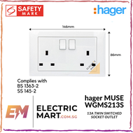 hager MUSE WGMS213S 13A twin switched socket outlet c/w M3.5 x 27mm long screws(Suitable for BTO switch replacement, HDB, new installations, Singapore standard size switch hole for easy installation) *NEW beehive-like design plate