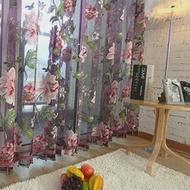 2สีใหม่คลาสสิกโพลีเอสเตอร์ผ้าม่าน Peony ดอกไม้หน้าต่างปรับแต่งผลิตภัณฑ์สำเร็จรูปผ้าม่าน Tulle ต...