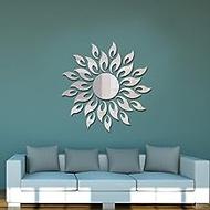 YWH-WH Decals Acrylic Sunflower Mirror Sticker, Silver Sunflower Acrylic Mirror Decorative Wall Sticker