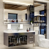 浴櫃 不銹鋼浴室櫃組合洗手洗臉盆櫃洗漱台 現代簡約衛生間衛浴櫃吊櫃