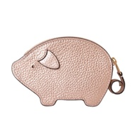 COACH 可愛小豬造型皮革零錢包-玫瑰金