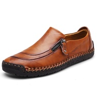 Banggood Shoes Men Comfy Hand Stitching Genuine Leather Side Zipper Slip On Oxfords