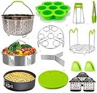 Accessories for Instant Pot,15Pcs Pressure Cooker Accessories Set Compatible with Instant Pot 7, 2 Steamer Baskets, Non-stick Springform Pan, Egg Bites Mold, Steamer Trivet,Silicone, Egg Steamer