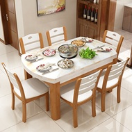 Table Marble Modern Simple small type retractable folding round table dining table solid wood dining
