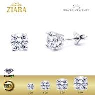 ZIARA ต่างหูเงินแท้ 925 silver ประดับเพชร Simulated Diamond (เพชร CZ) รุ่น ES2024R0 เคลือบทองคำขาว