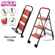 Aneka 3 Step Foldable Steel Trolley Ladder (Max Load 150KG) Step Ladder Step Stool Trolley Stairs