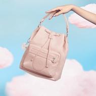 KIPLING 氣質輕柔粉色都會多用途水桶手提側背包-VIOLET