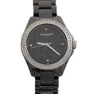COACH 經典logo C字錶面一圈鑽陶瓷錶帶手錶(黑)