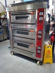 Electric & gas 3 deck commercial oven with 9 trays