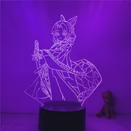 3D โคมไฟ Action Figure Demon Slayer Kochou Shinobu Hold Sowrd LED NightLight 7สี Touch ตาราง Decor Night Light ของขวัญรุ่น