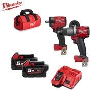 【Milwaukee 美沃奇】18V鋰電無碳刷電鑽+扳手組合(M18FPD2+FIW212-502B)