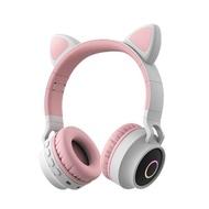 頭戴式耳機 少女心帶麥克風韓版可愛頭戴式無線耳麥藍芽耳機貓耳貓耳朵女生款潮