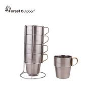 Forest Outdoor【SUS304不鏽鋼套杯】升級獨家金把 不鏽鋼杯架4入 保溫斷熱杯 咖啡杯