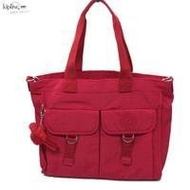 《Kipling》猩猩包~桃紅色素面手提肩背包-中 可斜背/側背/手提