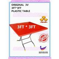 < ORIGINAL > 3V Square Plastic Table 2'x3' & 3x3' / Folding Table / Meja Lipat / heavy duty / best quality