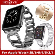 Luxury Metal Diamond Bracelet for Apple Watch Band 44mm 42mm 38mm 40mm Stainless Steel Strap Wrist Watch Loop for apple watch series 5 4 3 2 1 Women Diamond Rhinestone Jewelry Watch Band