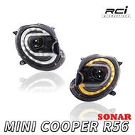 SONAR MIT 台製 新款 MINI COOPER R56 專用遠近切換 魚眼大燈組 雙色功能 LED方向燈 日行燈