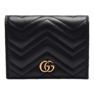 【GUCCI 古馳】GG Marmont matelasse系列絎縫紋牛皮金屬雙G LOGO暗釦卡夾/零錢包(黑466492-DRW1T-1000)