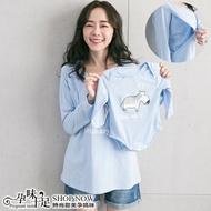 時尚親子裝可愛小馬圖案孕婦哺乳【側掀式】上衣 兩色【CPC7511】孕味十足 孕婦裝