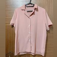 全新 芋頭粉雪紡短袖襯衫