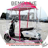 DETACHABLE FRONT & BACK COVERINGS ONLY or TRAPAL for SPECIAL FOLDABLE CAPPED CANOPY Umbrella with METAL FRAMING for eBikes eMotorcycles
