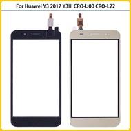 ใหม่ Y5 Lite 2017ด้านหน้าสำหรับ Huawei Y3 2017 CRO-U00 CRO-L02 CRO-L22หน้าจอสัมผัสกระจกกันรอยดิจิตอลเลนส์ด้านหน้าตัวเปลี่ยนกระจกด้านนอกอะไหล่