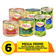 Mega Prime Kernel Corn 185g, Pieces and Stems Mushroom 198g, Green Peas 155g Pack of 6
