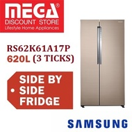 SAMSUNG RS62K61A17P 620L SIDE BY SIDE FRIDGE (3 TICKS) / FREE GIFT BY AGENT / LOCAL WARRANTY