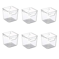Plastic Stackable Kitchen Pantry Cabinet Refrigerator or Freezer Food Storage Bins with Handles - 6 Pack - Clear