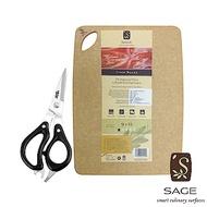 SAGE 無菌木砧板_實用型23X30cm+剪刀_超值組