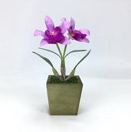 กระถางดอกไม้ประดิษฐ์ตกแต่งบ้าน ดอกกล้วยไม้แคทลียาพร้อมกระถางไม้ Artificial orchid with wooden pot