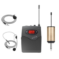 Wireless Microphone System,Wireless Microphone Set With Headset & Lavalier Lapel Mics Beltpack Transmitter Receiver