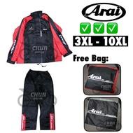 Arai Pro Rain Coat Rain Suit Double Layer Berkualiti Baju Hujan-Size Besar Sampai 7XL, 8XL & 10XL!!!