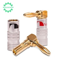 📻4 pcs 24K Gold 90 Degree Right Angle Nakamichi Speaker Banana Plugs