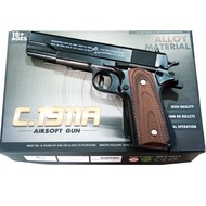 KTB TOY ปืนเหล็ก ปืนของเล่น อัดลมสั้นเหล็ก แม็กเหล็ก ง้างนกได้ มีช่องคัดปลอก ล้อคสไลค์ได้ พร้อมกระสุนบีบี 400 นัด M1911
