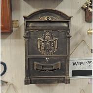 歐式信箱 古銅色信箱 藝術造型信箱 戶外信箱 鑄鋁信箱 歐風信箱 郵箱 郵筒 鐵藝信箱 附兩支鑰匙