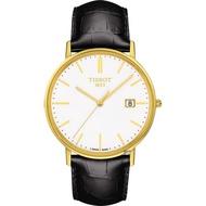 【TISSOT 天梭】18K金 Goldrun 石英錶-白x黑/38mm(T9224101601100)