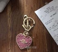 絕版【COACH】愛心 心型 吊飾 鑰匙圈 情人節禮物 乾燥玫瑰色 粉紅玫瑰